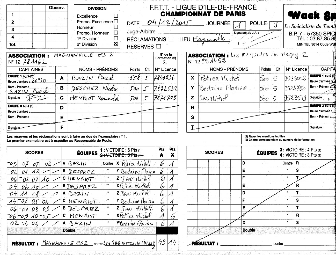 Champ Paris J1 Equipe 2