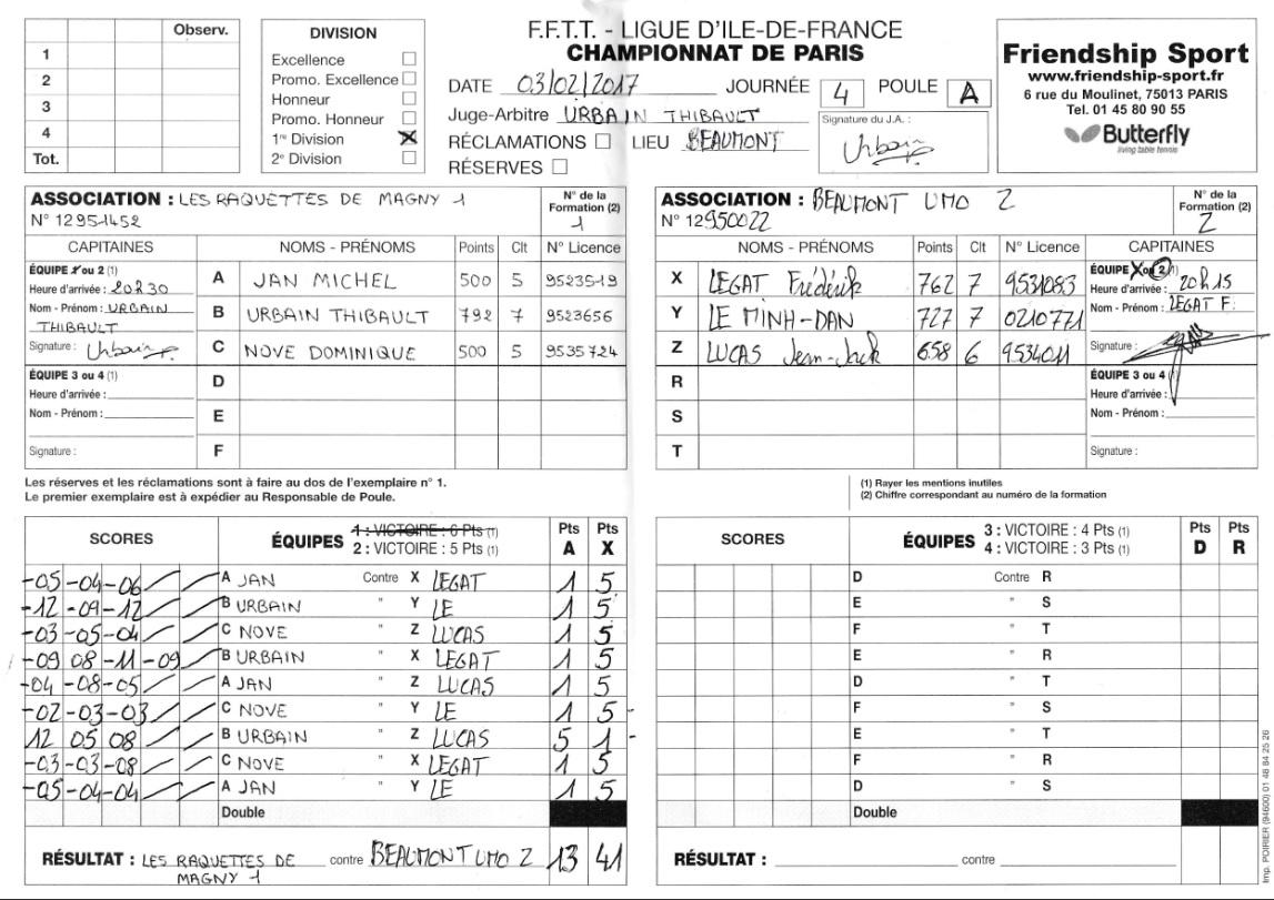 J4 Championnat de Paris Eq 2 – Les Raquettes de Magny